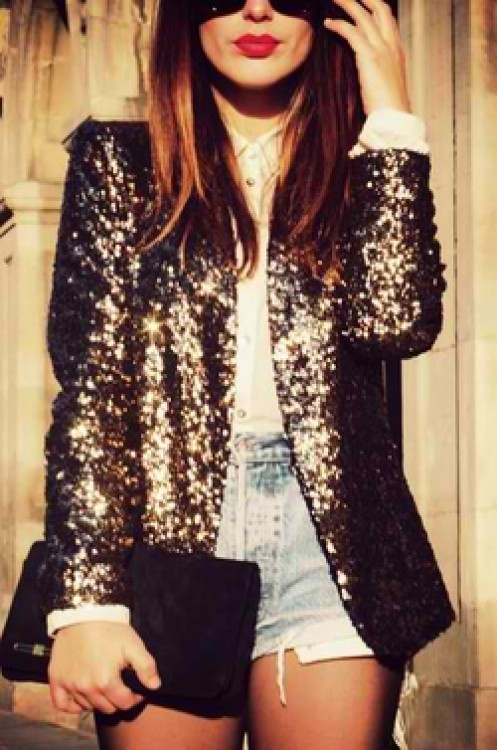 Sequin jacket and denim shorts