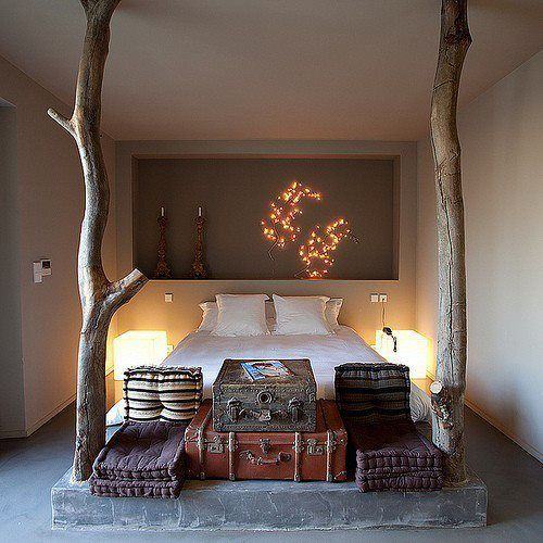 How cool is this? Would never work in our small bedroom, but it's lovely.   Whole Tree Architecture on The Owner-Builder Network