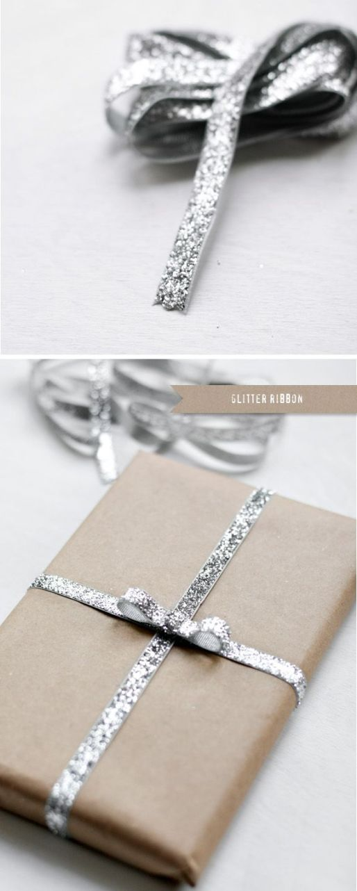 glitter ribbon on brown paper wrapping. prettyyy