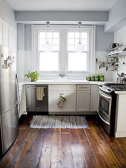 blue & white small kitchen