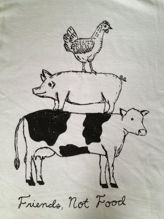 Friend Not Food Vegan/Vegetarian Tshirt by VeganVeins on Etsy, $18.99