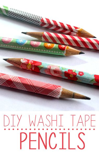 DIY washi tape pencils. Need to do this to keep track of whose pencil is whose! (hmmm...I think the tape is bad for sharpeners & why would it matter if pencils get mixed up? LOL: after living with a big family for a while, i now understand why you would need to keep pencils labeled!)