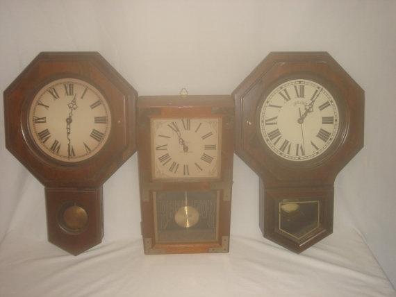 lot of three battery operated pendulum wall clocks bulova on wall clocks battery operated id=82041