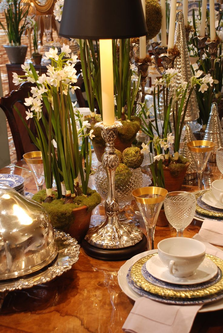 Beautiful table setting with her family's & his family's special silver pieces, china, crystal, and paper whites.