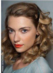 orange lips and vintage curls