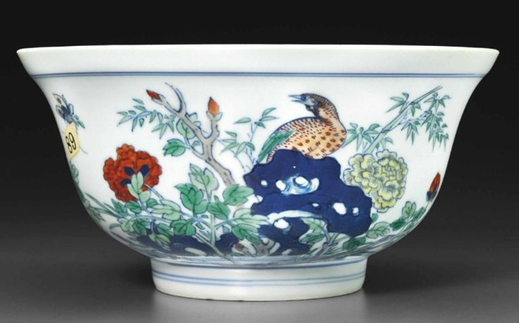 A raredoucaibowl, Kangxi six-character mark in underglaze blue within a double circle and of the period (1662-1722)