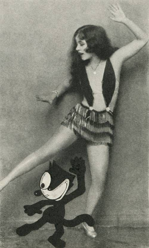 Ann Pennington teaching Felix the Cat how to dance The Black Bottom. Photoplay magazine, January 1927.