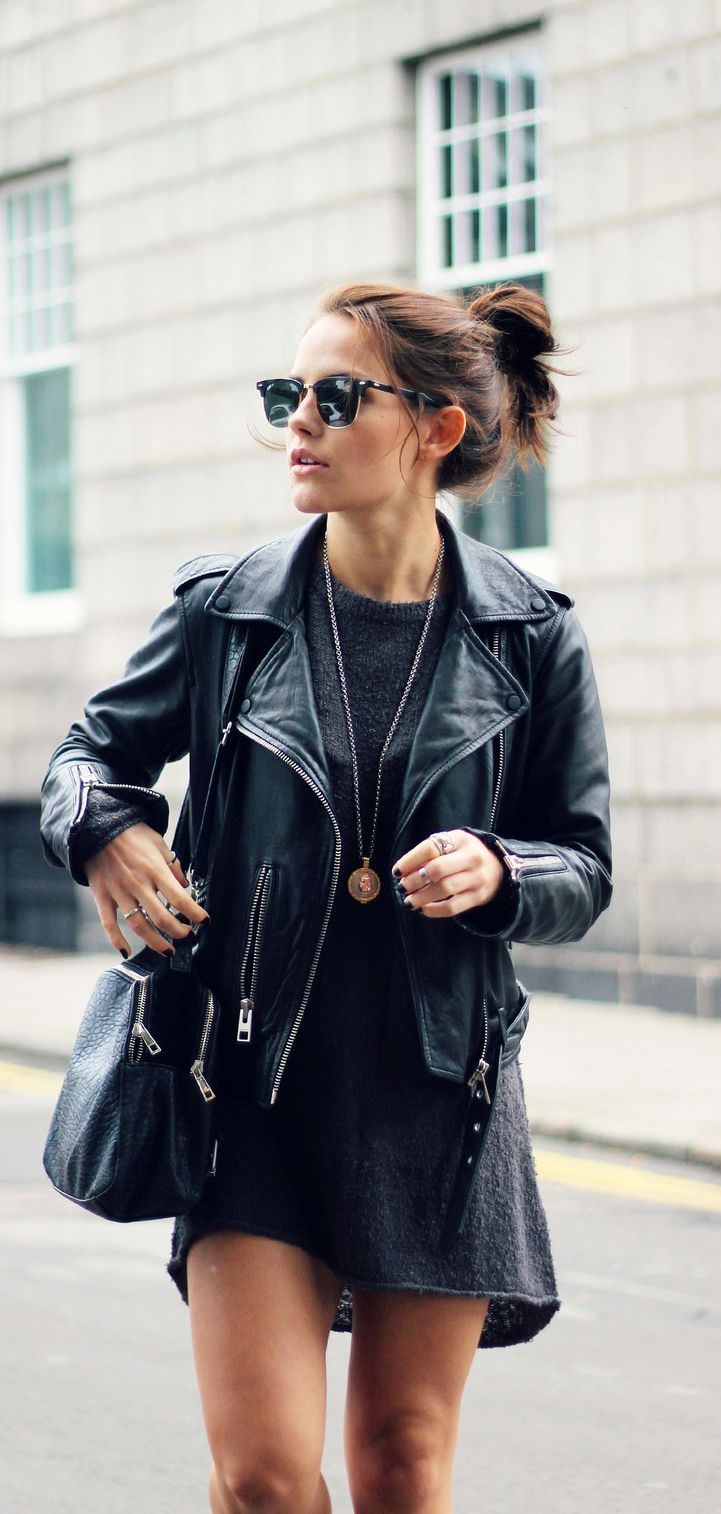 Amy Spencer is wearing an oversized jumper from H&M and a leather jacket from All Saints