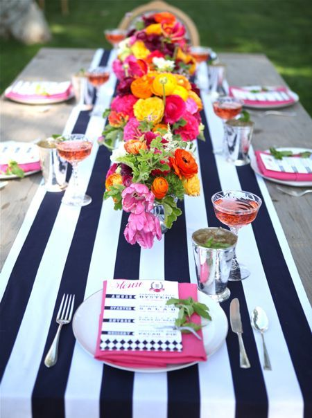 Striped table runner.