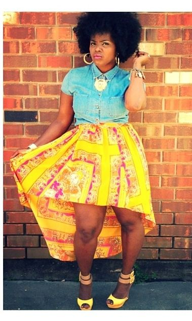 mieshaplaban:  Todays look  Today i rocked a colorful skirt and light blue shirt with yellow and tan wedges all compliments of…  View Post