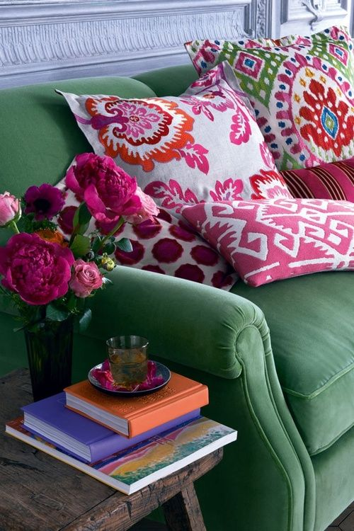 Fun pillows on a vintage couch.
