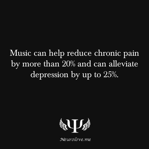 Music can help reduce chronic pain by more than 20% and can alleviate depression by up to 25%. I love my Ipod.