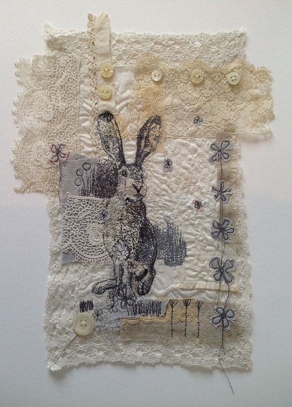Hare Machine Embroidered Picture: