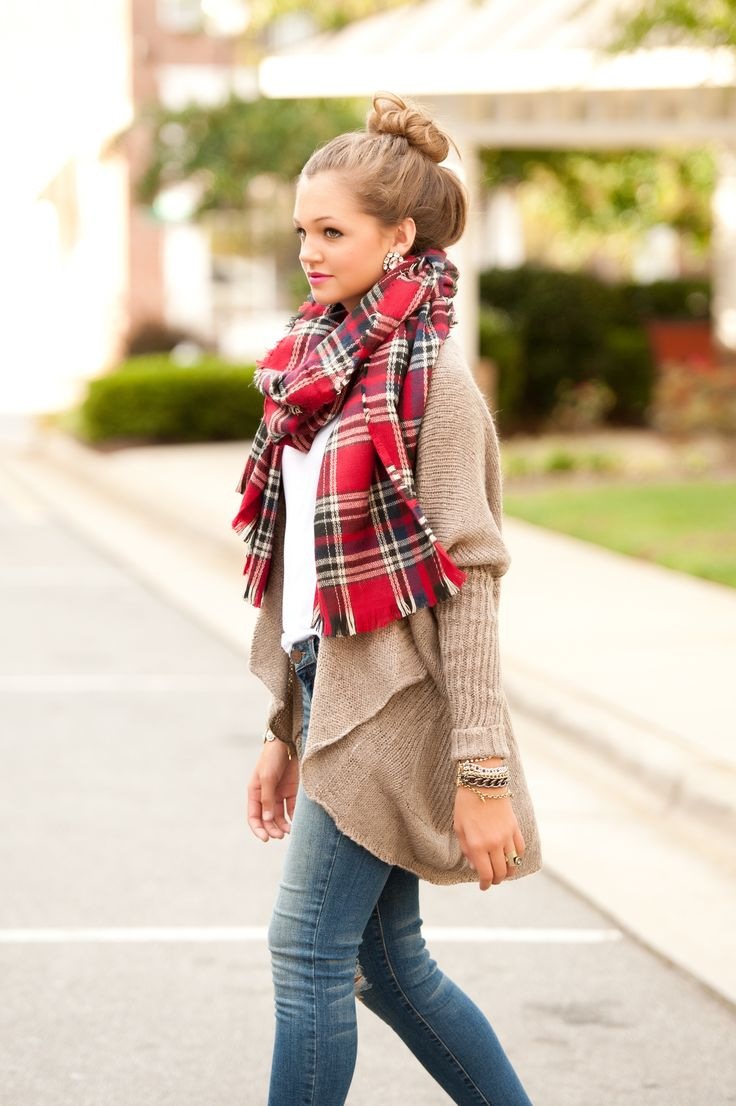 red oversize plaid scarf, mocha cardigan #swoonboutique