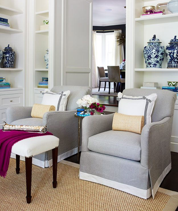 Love the fiber rug on dark hardwood floor, relaxed covered armchairs CHIC COASTAL LIVING: Hamptons Style Home...