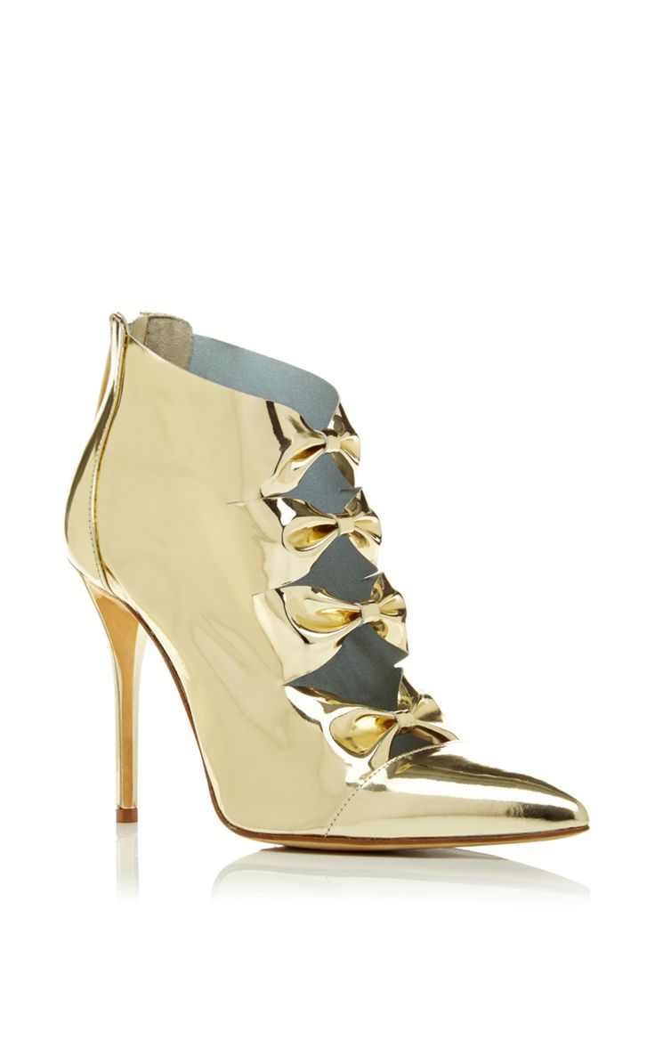 Tobin Bootie In Platinum Patent Leather by Oscar de la Renta for Preorder on Moda Operandi