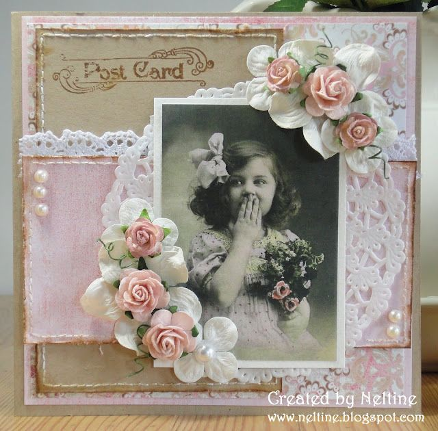 Pink Pastel Vintage Look...lace, old thyme photo, &...roses, just insert a picture of Victoria!