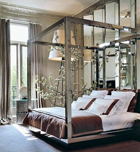 Amazing bed and mirror details ...French apartment