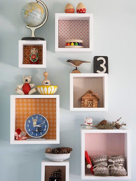 boxes for hanging decor vs. shelves