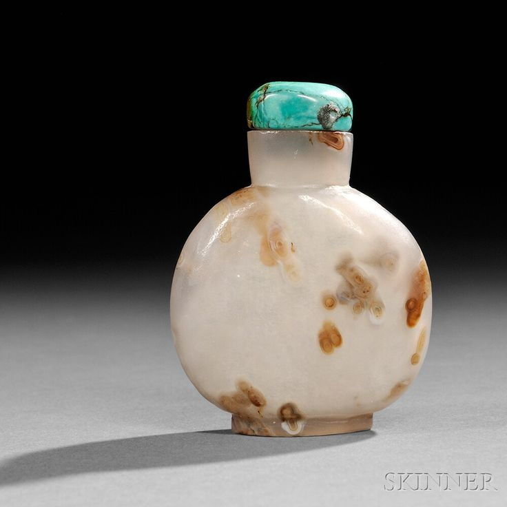 Turritella Agate Snuff Bottle with Turquoise Stopper, China, Qing dynasty