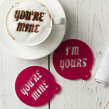 Personalised Valentine's Coffee Stencil Sophia Victoria Joy Not on the highstreet