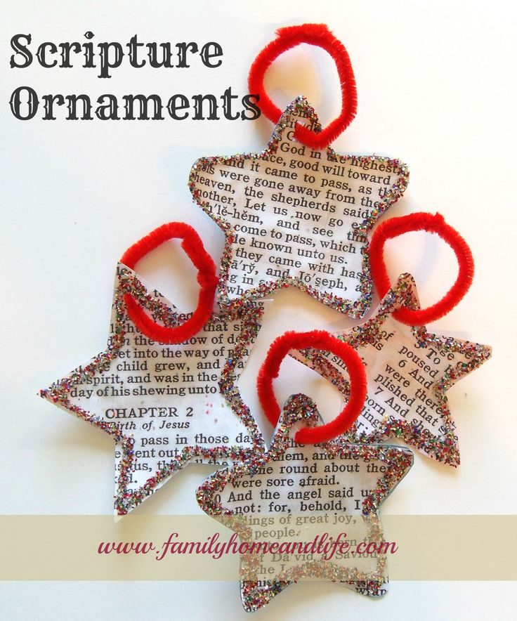 Scripture Ornaments. Use Bible program like ESword or Theophilos to make these and you don't have to make any copies. :)