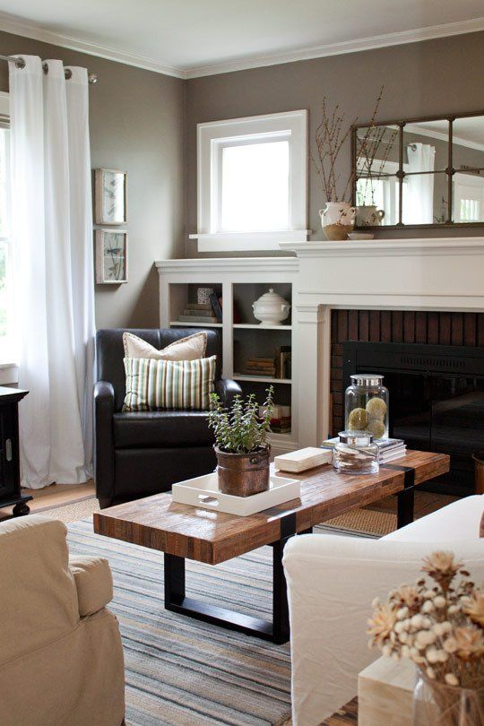 Warm Gray, White & Wood Living Room- from apartment therapy. This color with our couches is perfect, neutral and warm