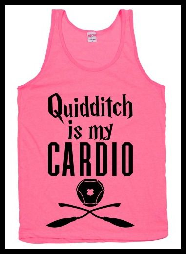 """""""Quidditch is my cardio"""" workout shirt. Pumpin' It Bookworm Style: Bookish Fitness Apparel - BOOK RIOT"""