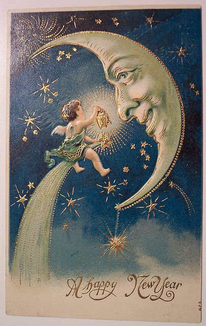 Vintage New Year postcard of fairy with moon