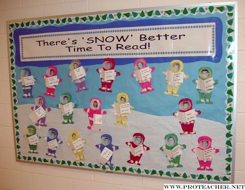 This is a cute idea for a winter bulletin board display that highlights reading.  The children are dressed bundled in winter clothes, with photographs of their face inside.  Students can write the names of their favorite books on the books that they are holding in their hands.