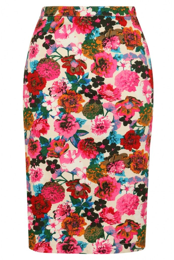 Go on! Try a longer length slim fit pencil skirt. Your bottom, hips and legs are beautifully shaped - show them off! Louche Larue Flower Pencil Skirt - Skirts - Clothing - Womenswear