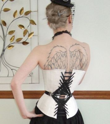 This gorgeous fan-aced corset was apparently made by