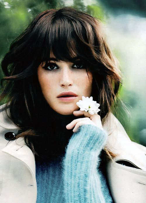 Hair love. Long bob layered bangs  sexy. Messy. On trend and timeless. Gemma Arterton for InStyle USA (October, 2013).