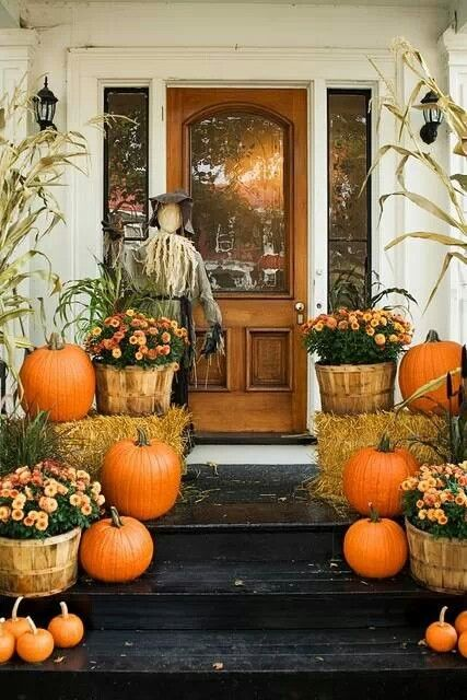 This is it!!!! Exactly the look! Maybe slightly different color flowers but the pumpkins, straw, and  bushel baskets for decorations is perfect.