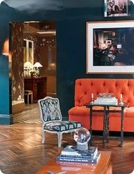 peacock and orange couch - Google Search