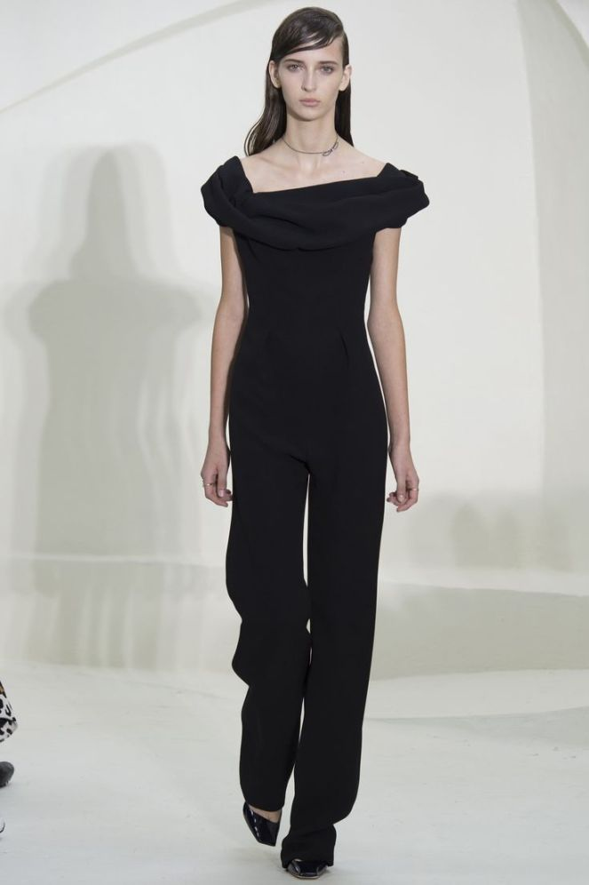 Christian Dior Spring 2014 Haute Couture, black pantsuit jumpsuit, off shoulder