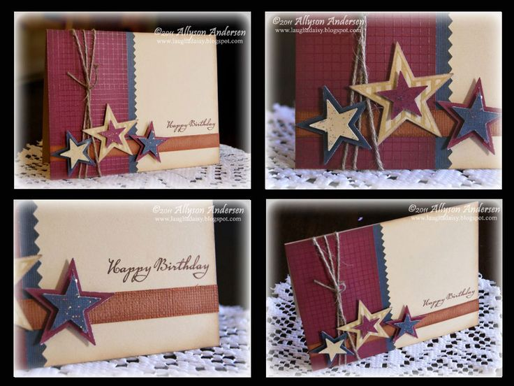 Masculine cards I used patterned paper mostly and it turned out pretty cool.  Check my version out on my blog after 6/28/14. http://crazywonderfullife92.wordpress.com