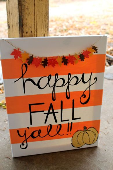 Happy Fall Y'all // orange and white stripes // pumpkin and leaves // 11x14 in canvas $45
