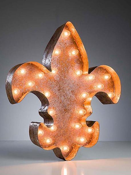 Vintage Marquee Lights-Fleur de Lis.