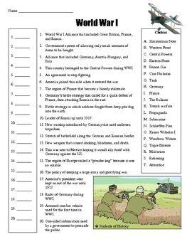 World War I Vocabulary Matching Worksheet