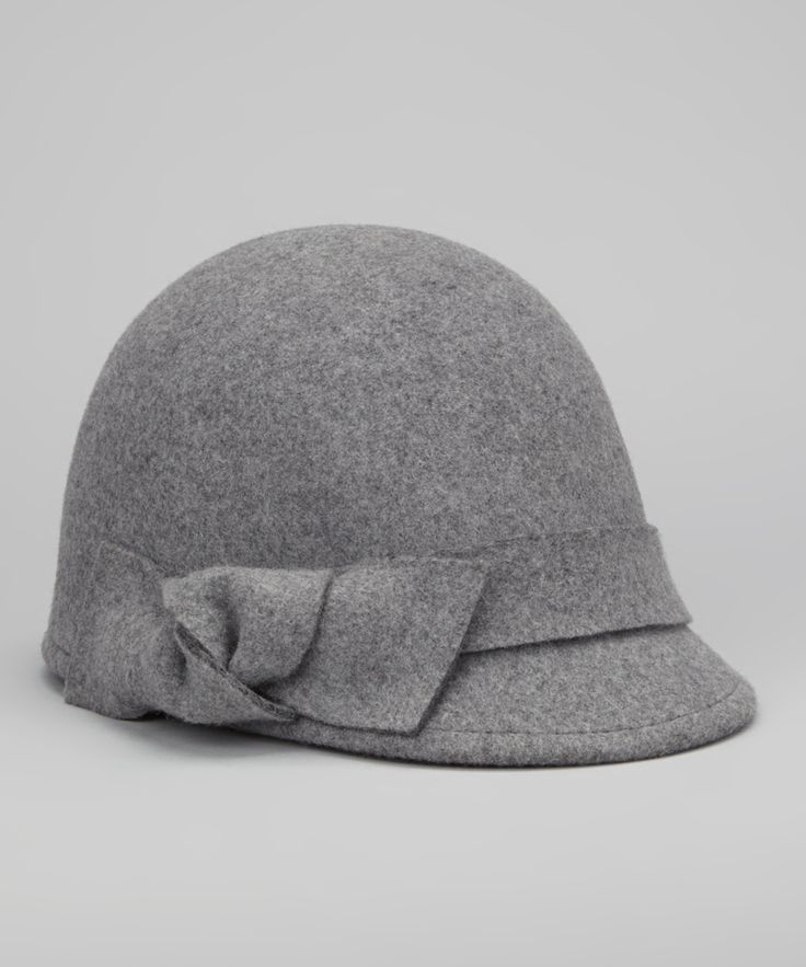 Mixed Gray Bow Wool Riding Cap