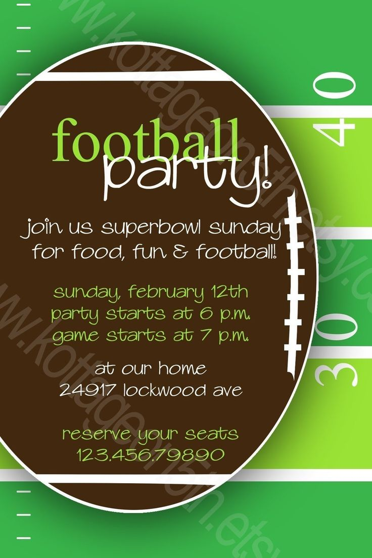 Monday Night or Superbowl Sunday - Football Fan - Party Invitation, Birthday, Bachelor, Baby Shower or Birth Announcement Digital Card. $16.00, via Etsy.