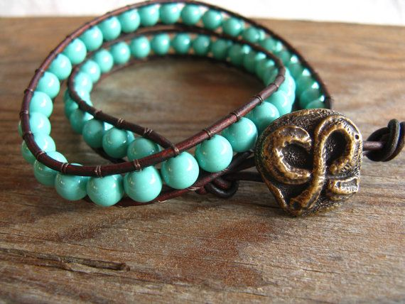 Turquoise 2x Leather Wrap $35