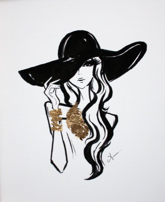 Hey, I found this really awesome Etsy listing at http://www.etsy.com/listing/160946633/fashion-illustration-black-hat-with-gold