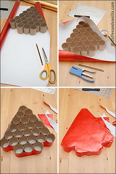 DIY Christmas calendar from toilet paper tubes, only use a wrapping paper tube for a smaller tree for an ornament! voila!