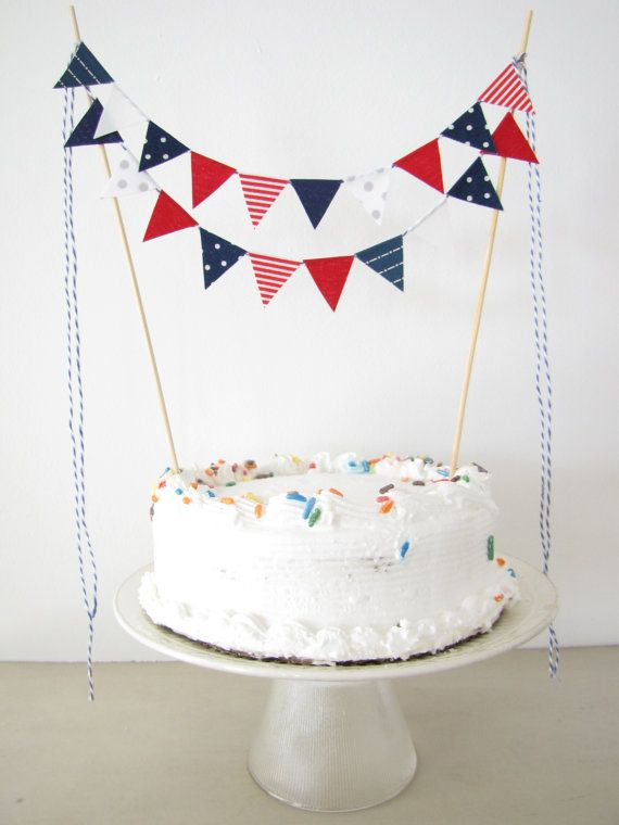 "Fabric Cake Bunting Decoration - Cake Topper - Wedding, Birthday Party, Shower Decor in ""Patriotic"" red white navy blue Fourth of July on Etsy, $16.00"