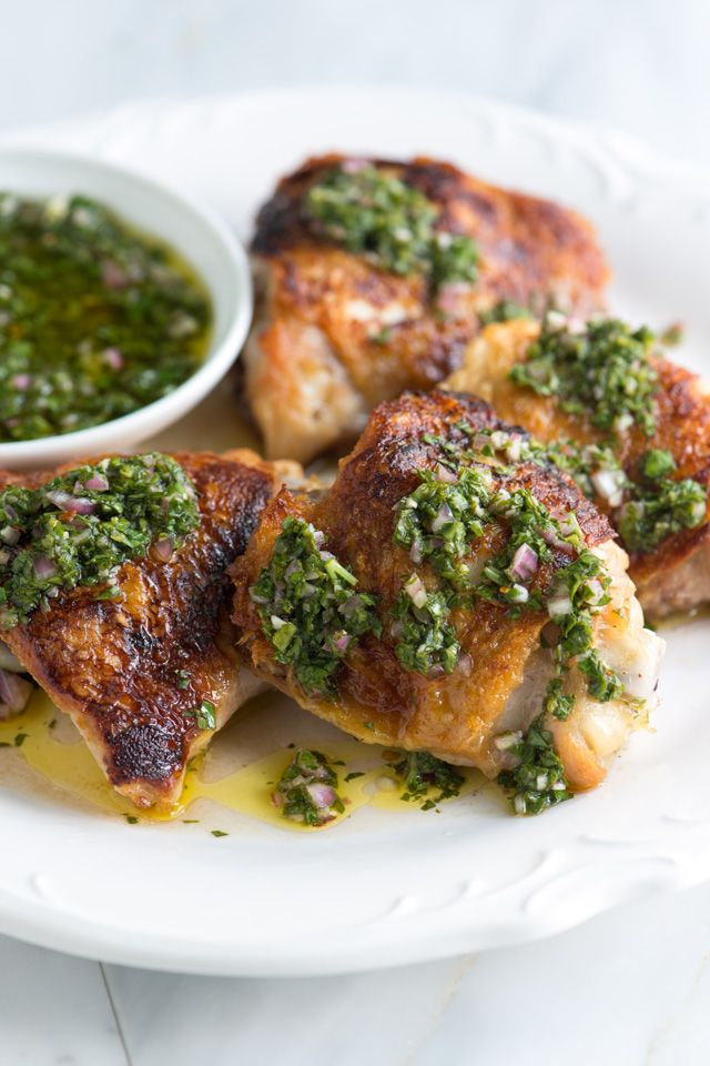 Adam + Joanne - Chimichurri Chicken Thighs Recipe from Inspired Taste