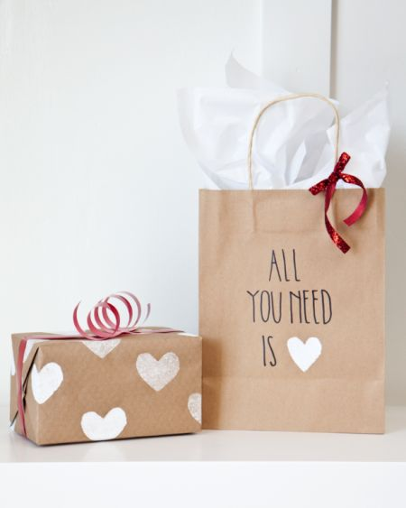 boxwood clippings  diy valentine's potato stamp wrapping