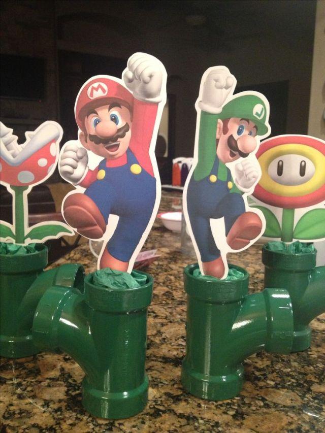 Mario bros birthday party centerpieces mario party