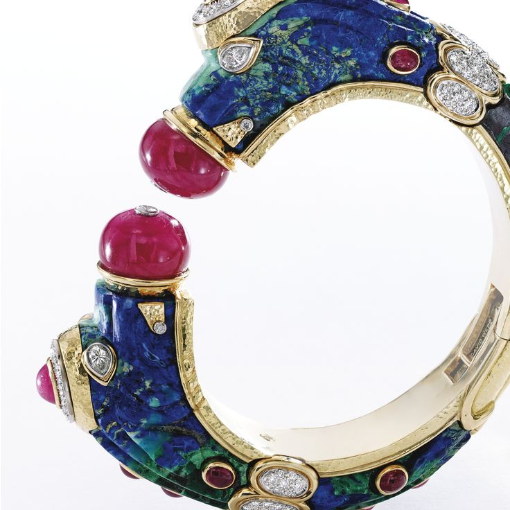 18 Karat Gold, Platinum, Azurmalachite, Ruby and Diamond 'Chimera' Bangle-Bracelet, David Webb | Lot | Sotheby's